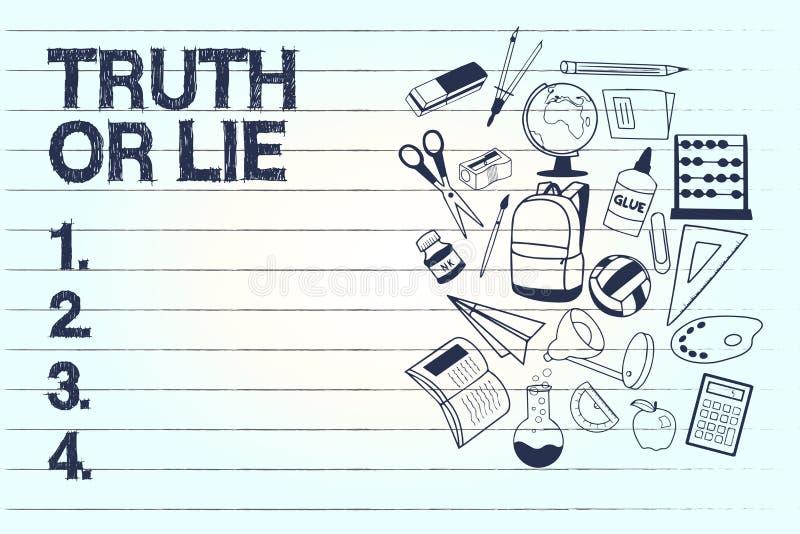Begreppsmässig sanning eller lögn för handhandstilvisning Beslut för affärsfototext mellan att vara ärligt ohederligt primat tviv stock illustrationer