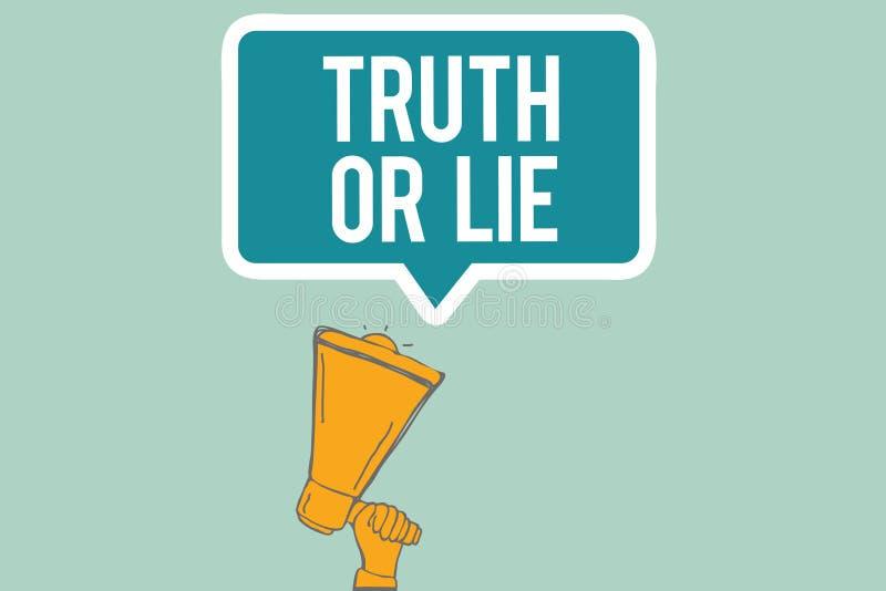 Begreppsmässig sanning eller lögn för handhandstilvisning Beslut för affärsfototext mellan att vara ärligt ohederligt primat tviv royaltyfri illustrationer