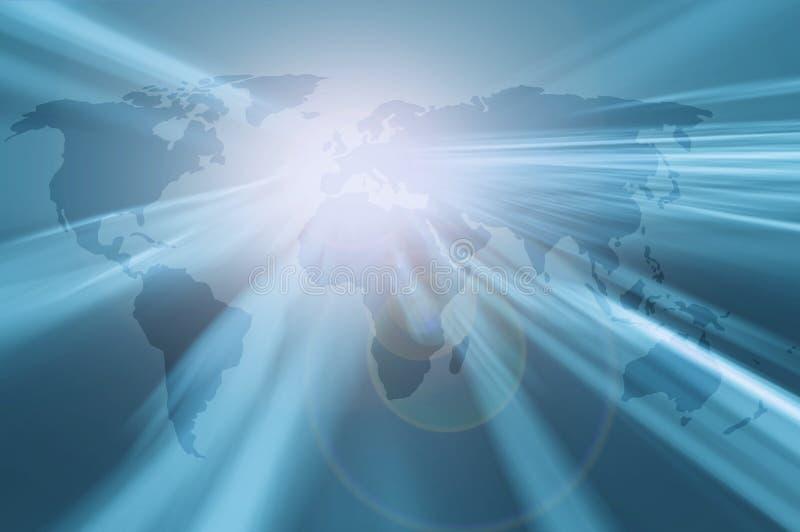 Begreppsmässig skinande ljus världskartaloppbakgrund vektor illustrationer