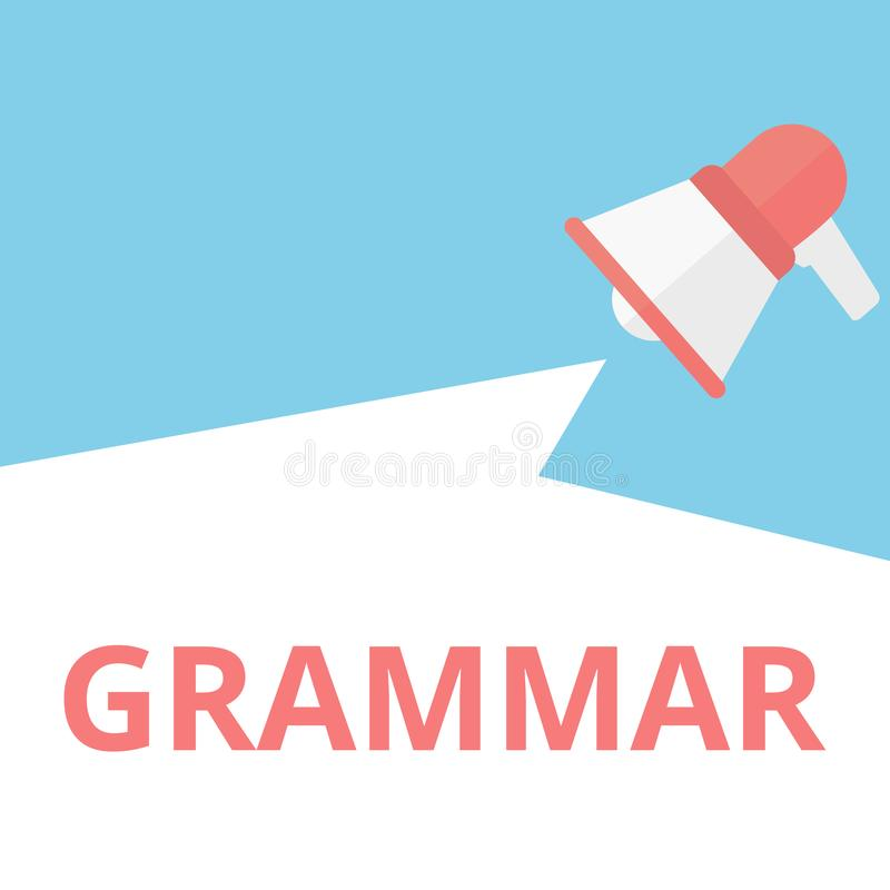 Begreppsmässig skrivande visande grammatik stock illustrationer