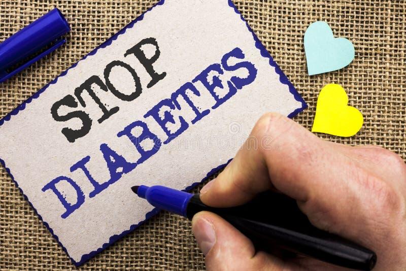 Begreppsmässig sockersjuka för stopp för handhandstilvisning Att ställa ut för affärsfoto tar omsorg av din Sugar Levels Healthy  arkivbilder