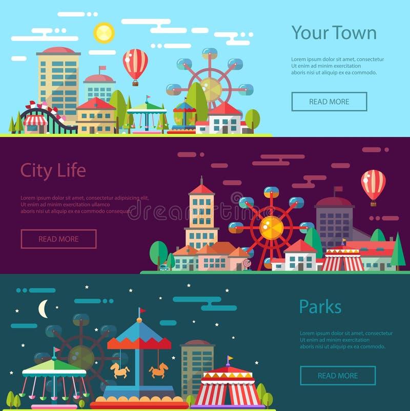 Begreppsmässig stadsillustration för modern plan design vektor illustrationer