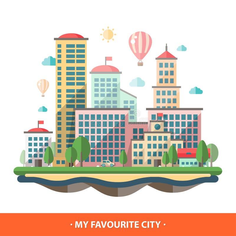 Begreppsmässig stadsillustration för modern plan design stock illustrationer
