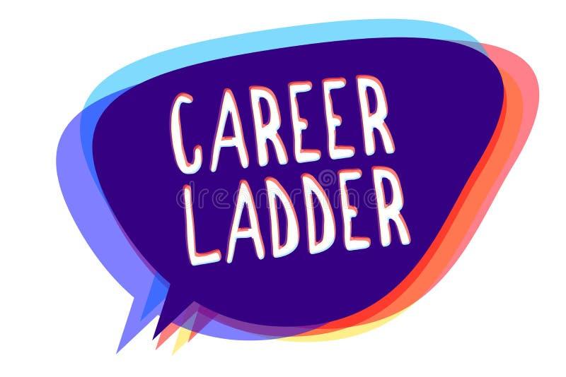 Begreppsmässig stege för karriär för handhandstilvisning För Job Promotion Professional Progress Upward för affärsfototext Sp för royaltyfri illustrationer