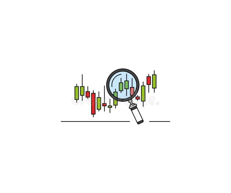 Begreppsmässig symbol för Forexmarknadsforskning Design för Forexdiagramvektor vektor illustrationer