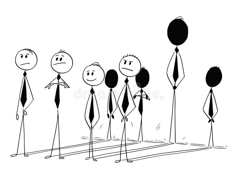 Begreppsmässig tecknad film av affärsmannen Individuality Contribution stock illustrationer