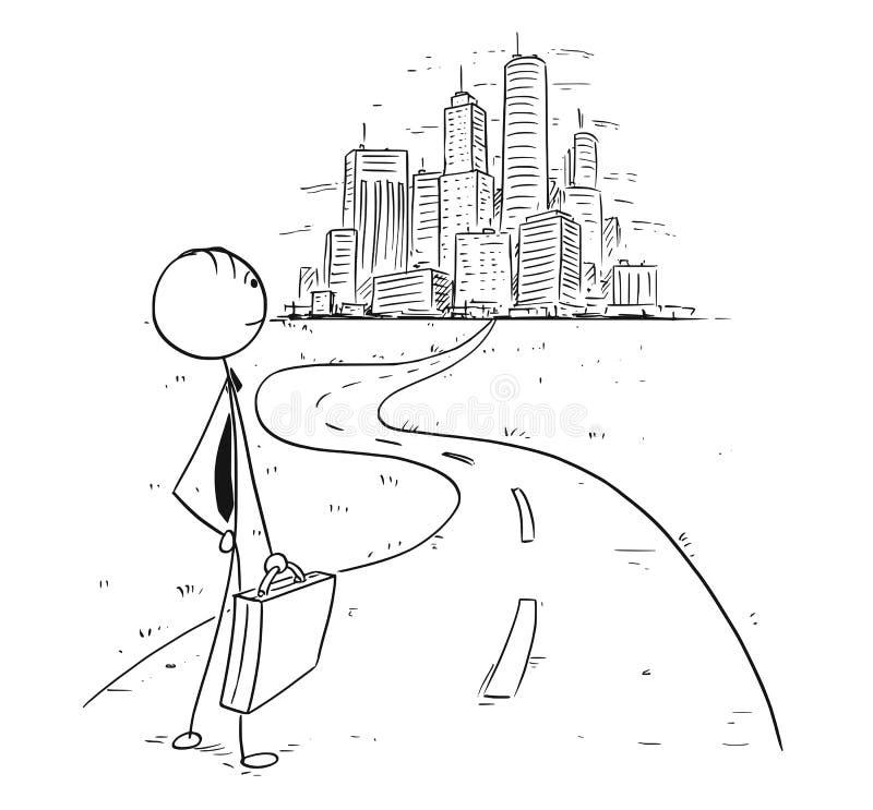 Begreppsmässig tecknad film av affärsmannen på vägen in till storstaden eller stock illustrationer