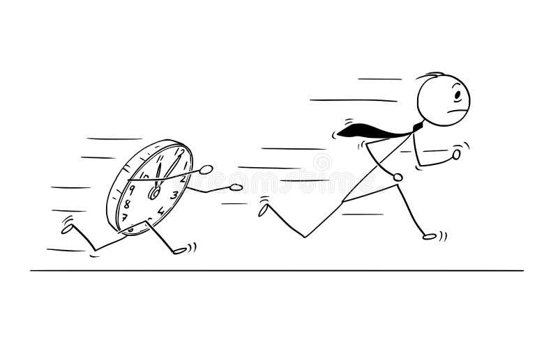 Begreppsmässig tecknad film av affärsmannen Rushing för stopptid vektor illustrationer