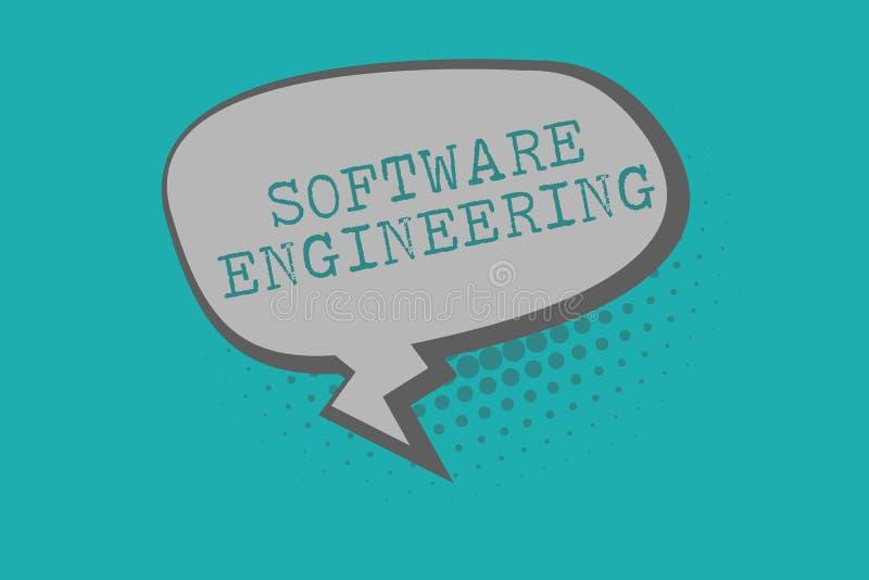 Begreppsmässig teknik för programvara för handhandstilvisning Utveckling för program för affärsfototext i systematiskt kvantifier stock illustrationer