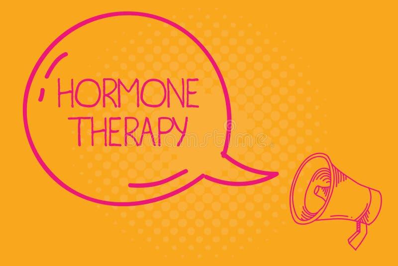 Begreppsmässig terapi för hormon för handhandstilvisning Bruk för affärsfototext av hormoner, i behandling av menopausal tecken royaltyfri illustrationer