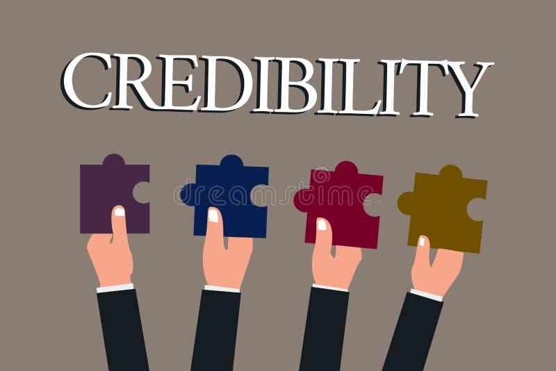 Begreppsmässig trovärdighet för handhandstilvisning Kvalitet för affärsfototext av att övertyga betrott troligt och stock illustrationer