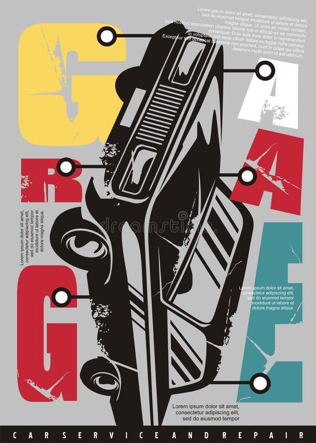 Begreppsmässig typografidesign för garage med bildiagrammet vektor illustrationer
