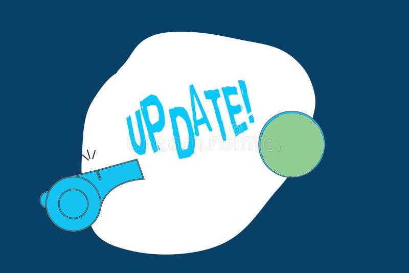 Begreppsmässig uppdatering för handhandstilvisning Aktuell affärsfototext gör något modernare eller uppdaterad nyare version royaltyfri illustrationer