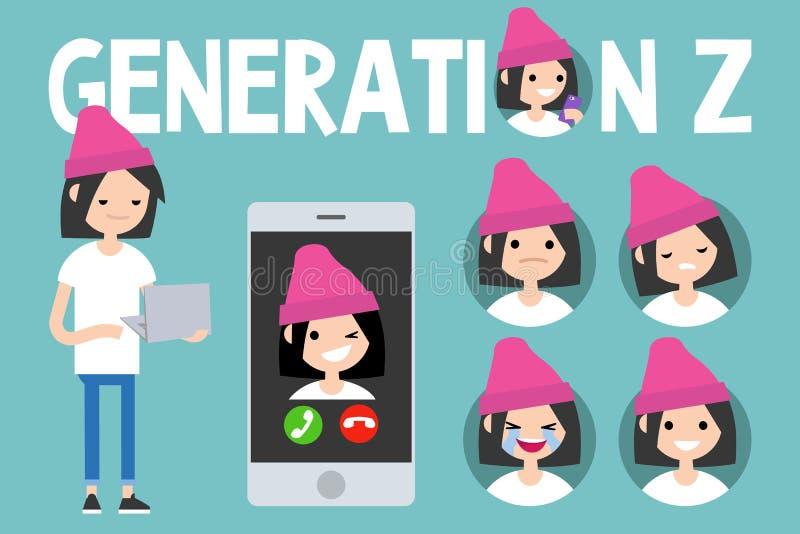 Begreppsmässig uppsättning för utveckling Z tecken millennial flicka för full längd royaltyfri illustrationer