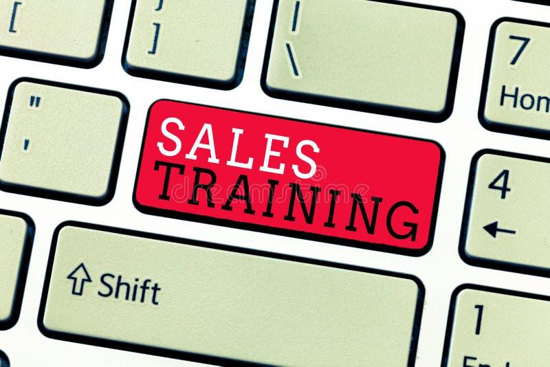Begreppsmässig utbildning för försäljningar för handhandstilvisning Handling för affärsfototext som säljer personlig utveckling f royaltyfria foton