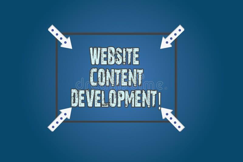 Begreppsmässig utveckling för innehåll för Website för handhandstilvisning Process för affärsfototext av att utfärda information  royaltyfri illustrationer