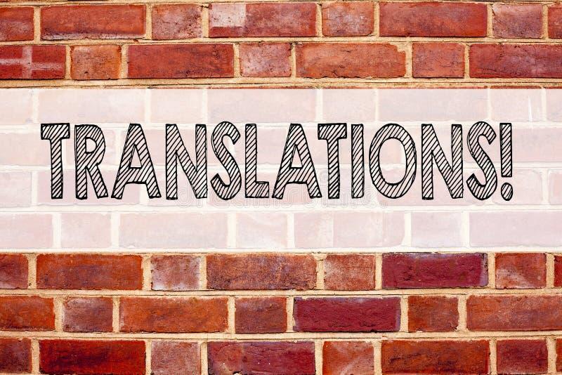 Begreppsmässiga översättningar för visning för inspiration för meddelandetextöverskrift Affärsidéen för översätter förklarar pläd arkivbild