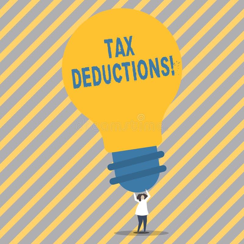 Begreppsmässiga avdrag för skatt för handhandstilvisning Affärsfoto som ställer ut förminskning på pengar för skattinvesteringbes stock illustrationer
