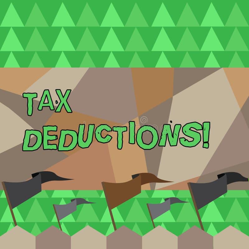 Begreppsmässiga avdrag för skatt för handhandstilvisning Affärsfoto som ställer ut förminskning på retur för pengar för skattinve vektor illustrationer