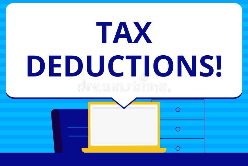 Begreppsmässiga avdrag för skatt för handhandstilvisning Förminskning för affärsfototext på retur för pengar för skattinvestering vektor illustrationer