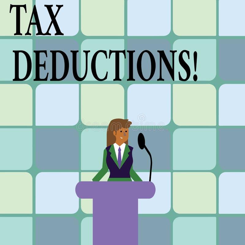 Begreppsmässiga avdrag för skatt för handhandstilvisning Förminskning för affärsfototext på retur för pengar för skattinvestering stock illustrationer