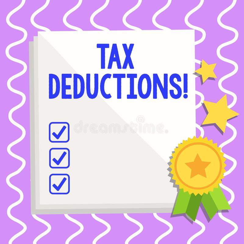 Begreppsmässiga avdrag för skatt för handhandstilvisning Inkomst för förminskning för affärsfototext som är i stånd till att besk vektor illustrationer