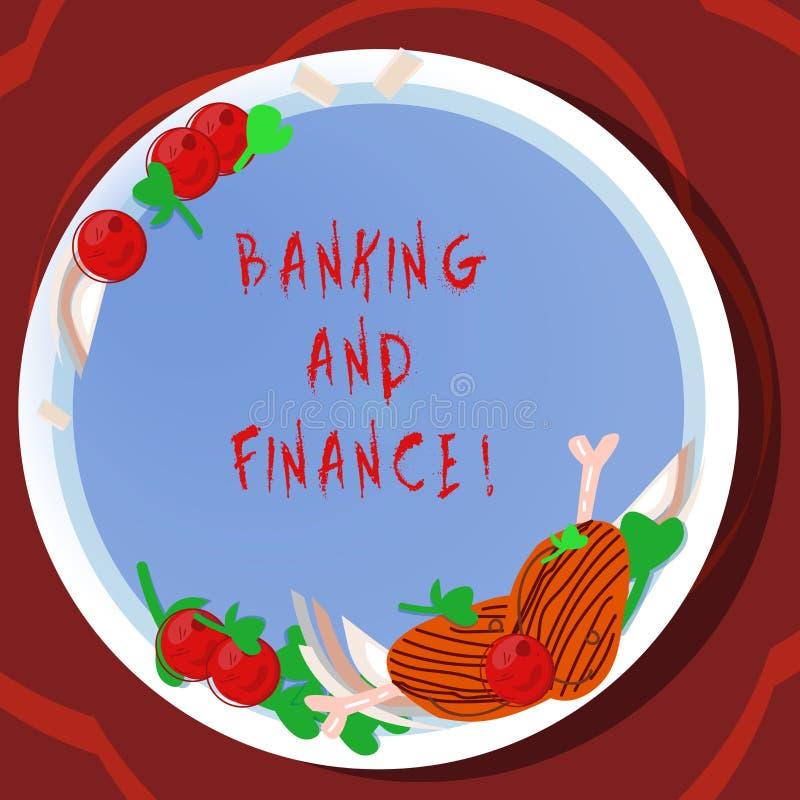 Begreppsmässiga bankrörelsen och finans för handhandstilvisning Affärsfoto som ställer ut institutioner som ge variation av vektor illustrationer