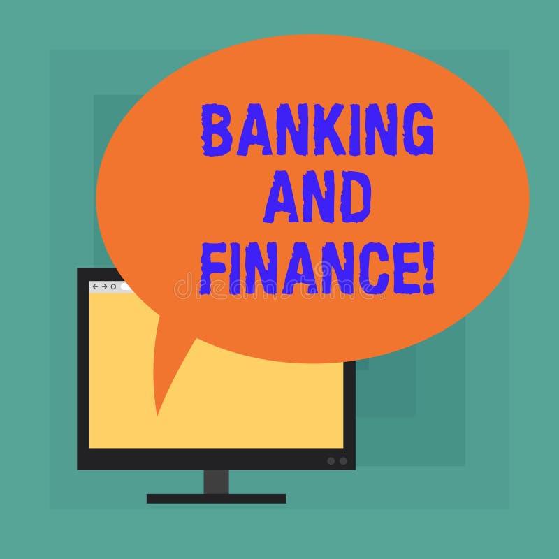Begreppsmässiga bankrörelsen och finans för handhandstilvisning Institutioner för affärsfototext som ger variation av finansiellt royaltyfri illustrationer