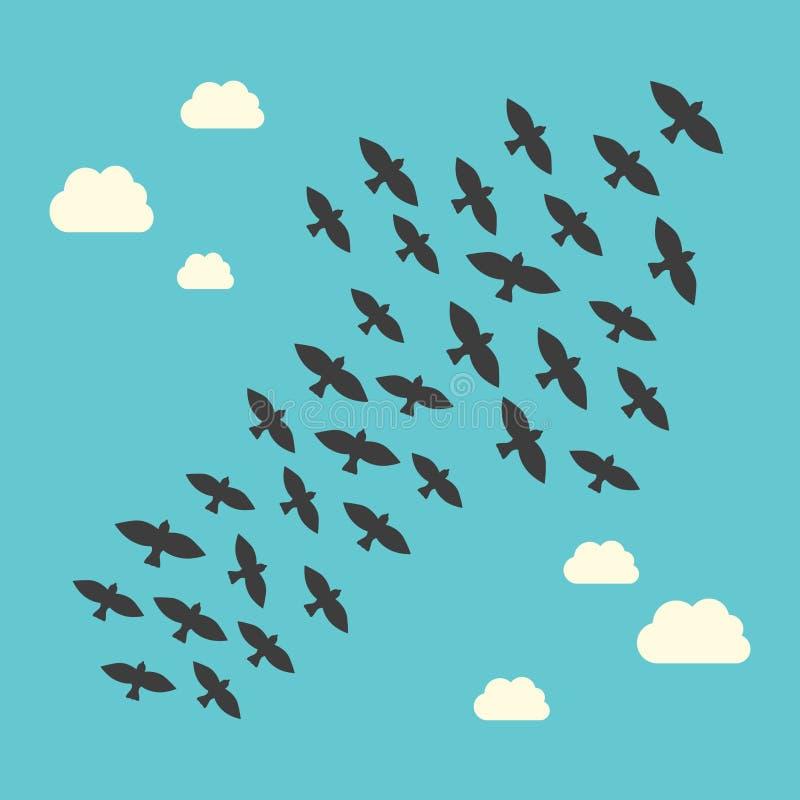 Begreppsmässiga fåglar som uppåt flyger vektor illustrationer