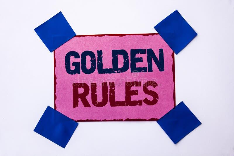 Begreppsmässiga gyllene regler för handhandstilvisning Norm Policy Statement för plan för avsikt för kärna för principer för regl arkivbild