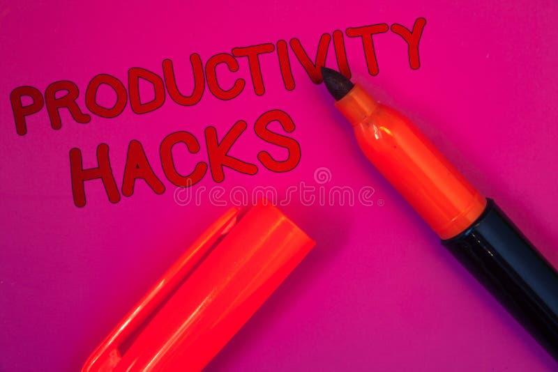Begreppsmässiga hackor för produktivitet för handhandstilvisning Metoden för lösningen för dataintrånget för affärsfototext tippa arkivbild
