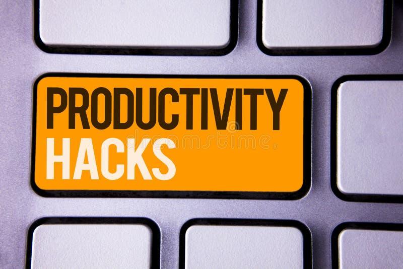 Begreppsmässiga hackor för produktivitet för handhandstilvisning Metoden för lösningen för dataintrånget för affärsfototext tippa arkivfoto