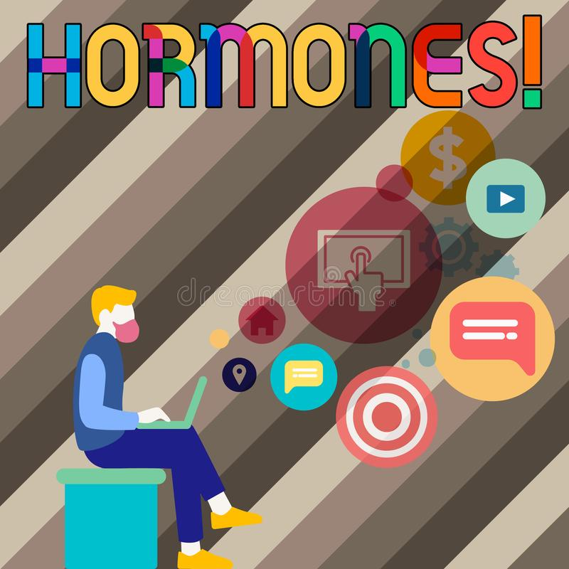 Begreppsmässiga hormoner för handhandstilvisning Affärsfotoet som ställer ut den reglerande vikten, producerade i en organism til vektor illustrationer