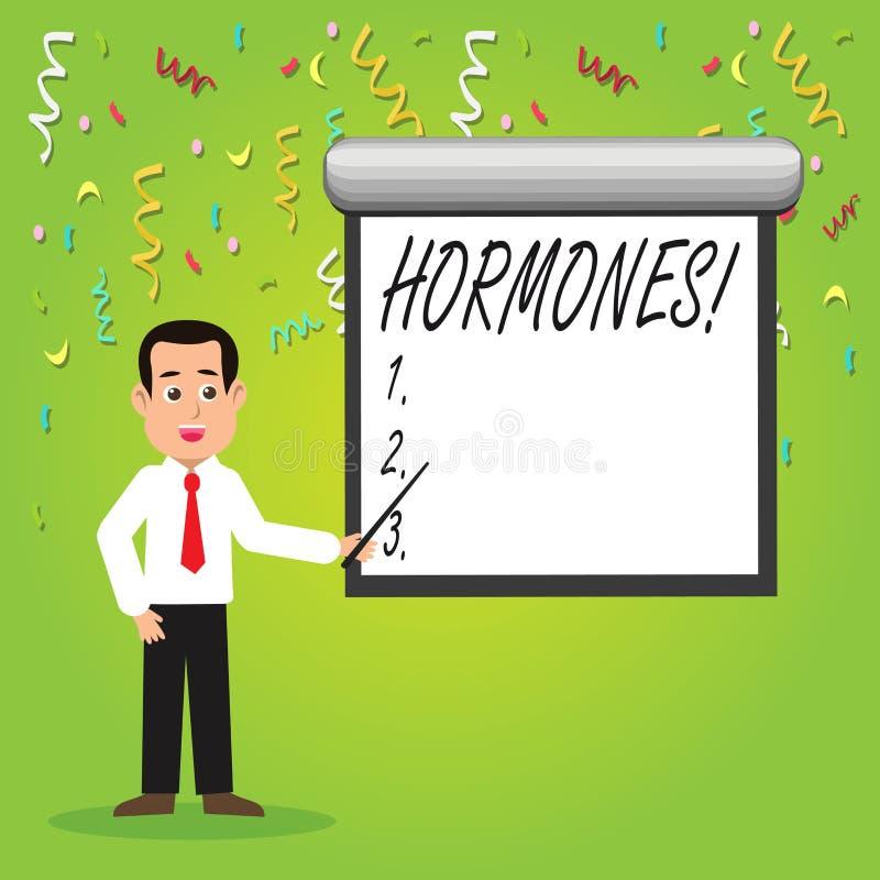 Begreppsmässiga hormoner för handhandstilvisning Affärsfotoet som ställer ut den reglerande vikten, producerade i en organism til stock illustrationer