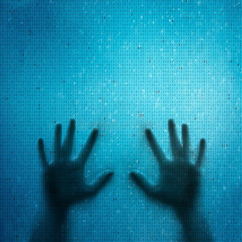 Begreppsmässiga människahänder och binära nummer för dator vektor illustrationer