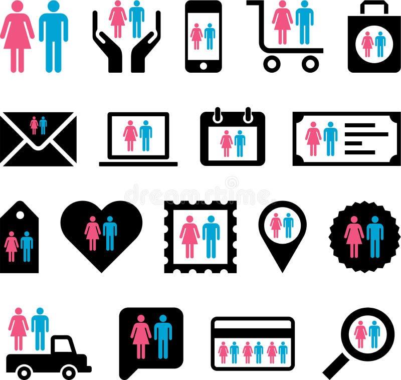 Begreppsmässiga Man&Woman symboler vektor illustrationer