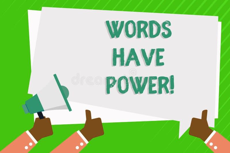 Begreppsmässiga ord för handhandstilvisning har makt Affärsfotoet som ställer ut meddelanden som, du säger, har kapaciteten till stock illustrationer