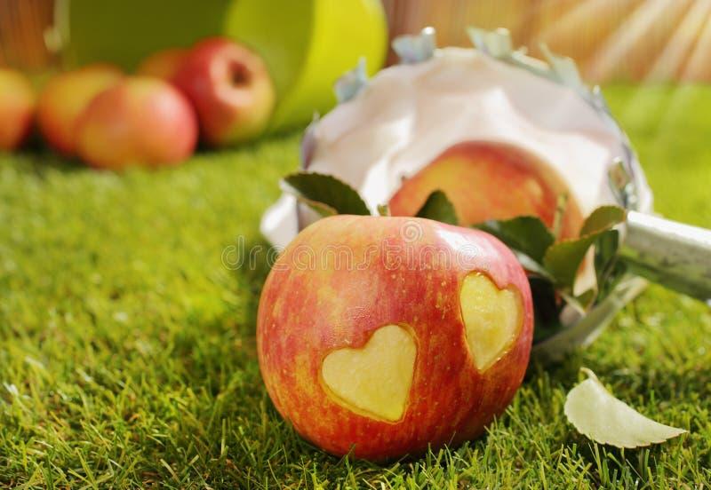 Rött äpple med en para av incised hjärtor arkivfoto