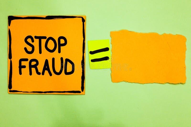 Begreppsmässigt bedrägeri för stopp för handhandstilvisning Folk för rådgivning för aktion för affärsfototext som ut håller ögone royaltyfria bilder