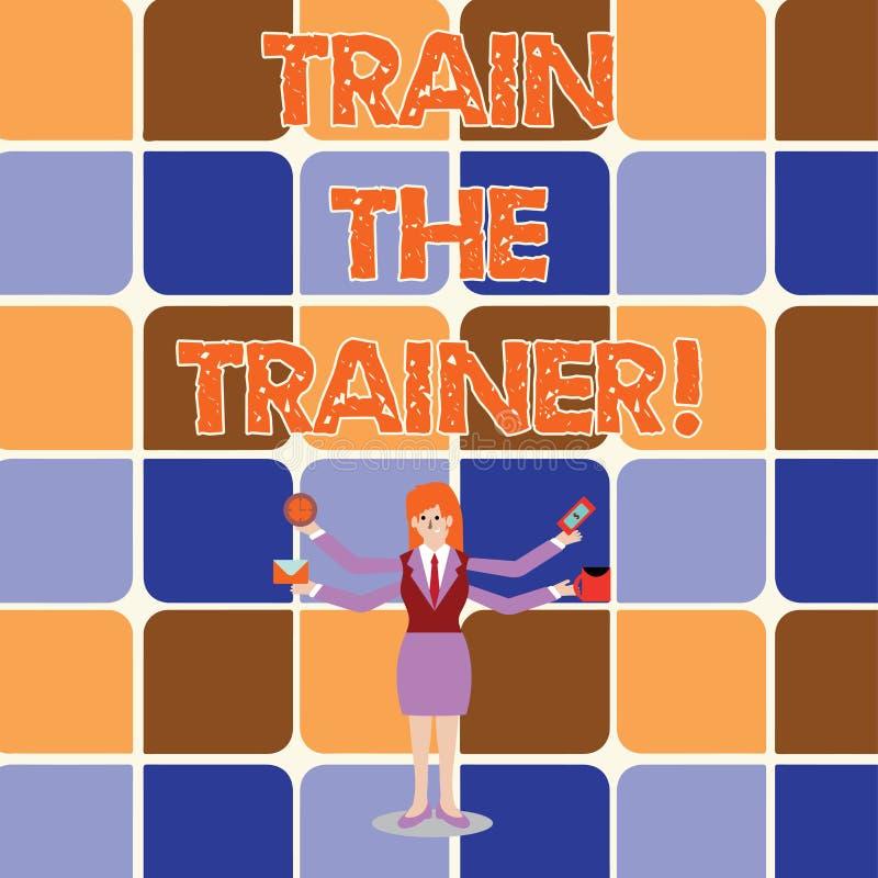 Begreppsmässigt drev för handhandstilvisning instruktören Affärsfoto som ställer ut lärande teknikstudenter som är lärare royaltyfri illustrationer