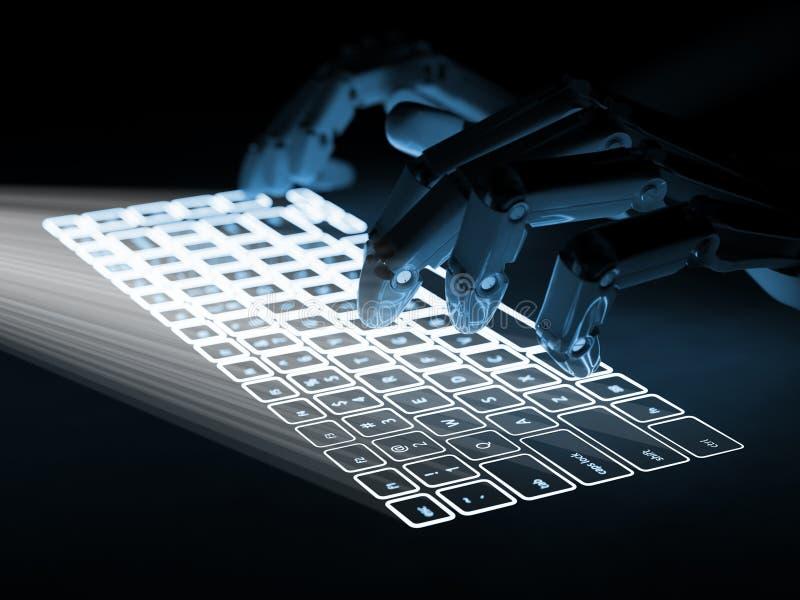 Begreppsmässigt faktiskt tangentbord som projekteras på yttersida- och robothänder arkivbild