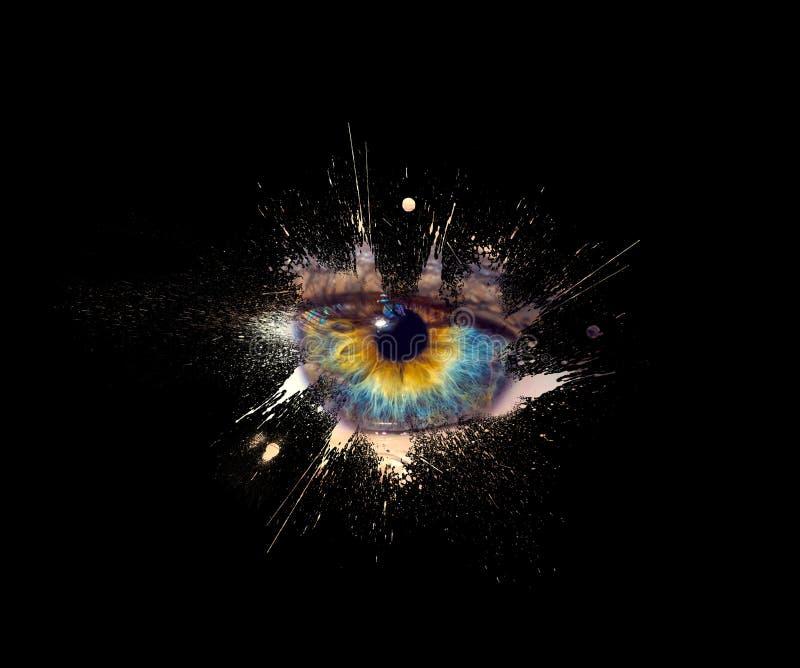 Begreppsmässigt idérikt foto av en kvinnlig ögonnärbild i form av färgstänk, explosion och drypamålarfärg som isoleras på en svar arkivfoton