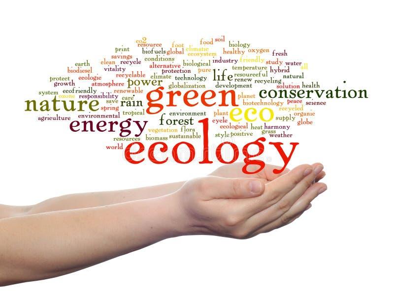 Begreppsmässigt isolerat ekologiordmoln arkivbilder