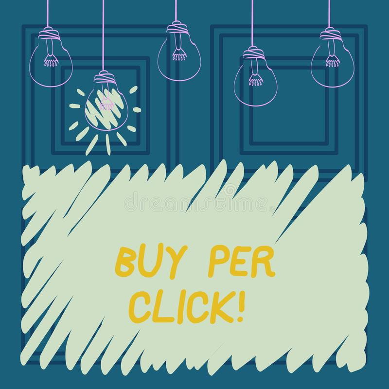 Begreppsmässigt köp för handhandstilvisning per klick Affärsfoto som ställer ut online-inhandla moderna teknologier för ecommerce stock illustrationer