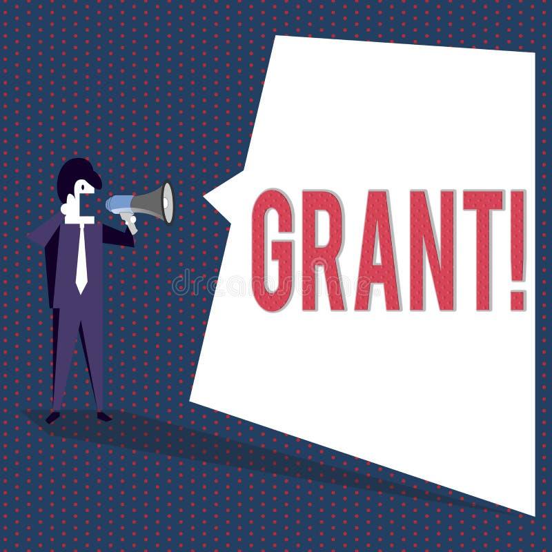 Begreppsmässigt lån för handhandstilvisning Pengar för affärsfototext som ges av en organisation eller en regering för en avsikt stock illustrationer
