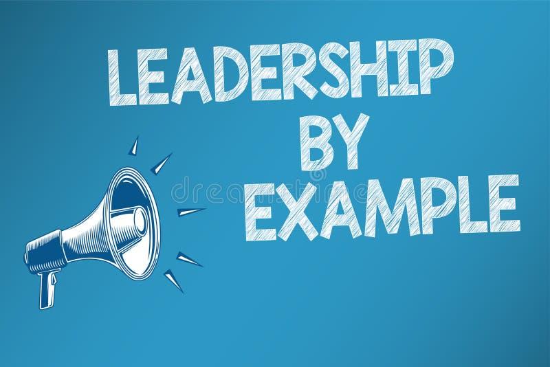 Begreppsmässigt ledarskap för handhandstilvisning vid exempel Har den passande förebilden för affärsfototext för folk utmärkt stock illustrationer