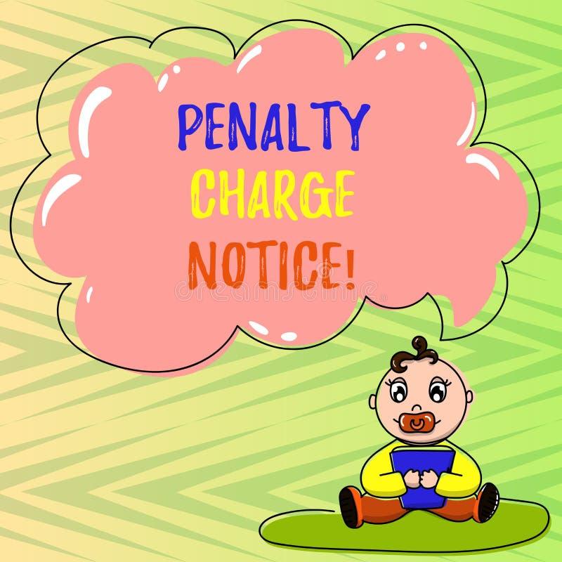 Begreppsmässigt meddelande för laddning för straff för handhandstilvisning Affärsfoto som ställer ut böter som utfärdas av polise stock illustrationer