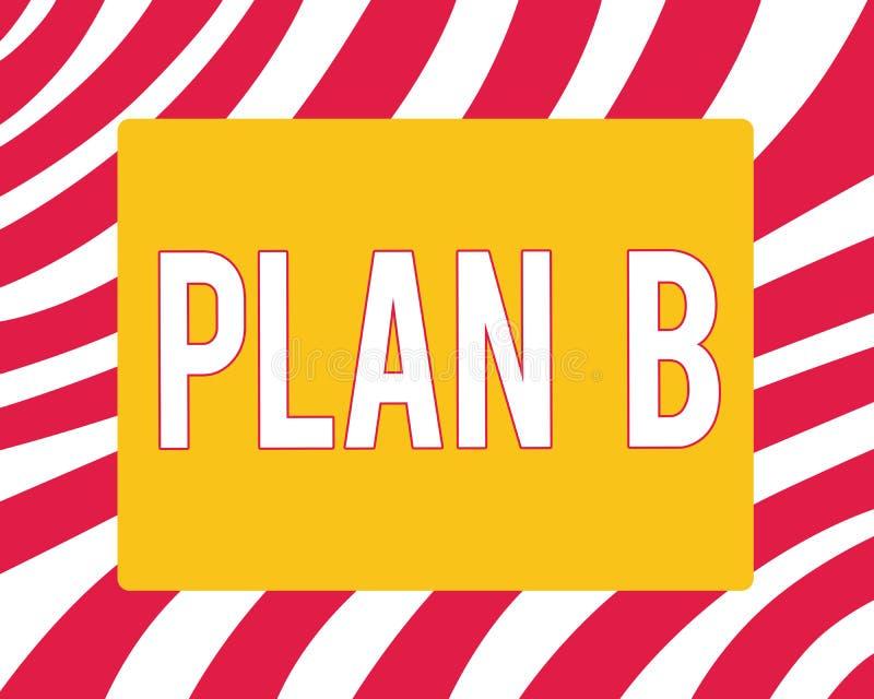 Begreppsmässigt plan B för handhandstilvisning Affärsfotoet som ställer ut det reserv- planet eller strategi, specificerade försl stock illustrationer