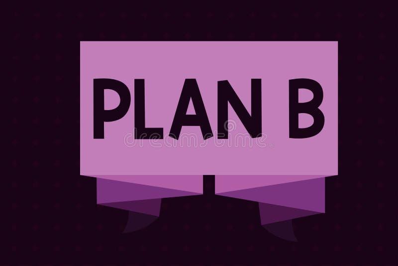 Begreppsmässigt plan B för handhandstilvisning Affärsfotoet som ställer ut det reserv- planet eller strategi, specificerade försl vektor illustrationer