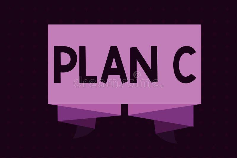 Begreppsmässigt plan C för handhandstilvisning Affärsfotoet som ställer ut reserv- strategi, specificerade sist förslaget för att vektor illustrationer